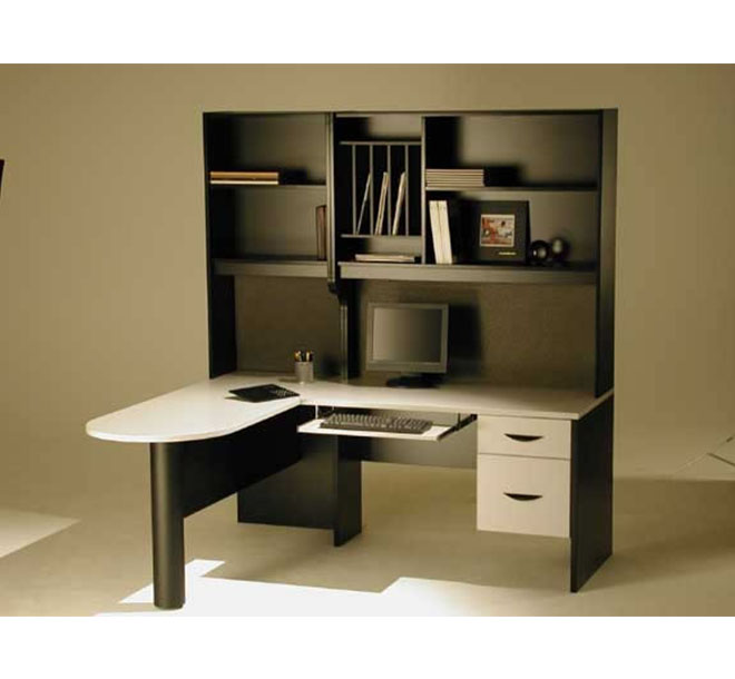 Personalized office workstation with open shelving