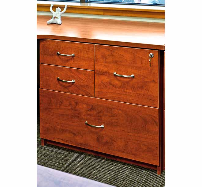 Custom built office cabinet with decorative hardware