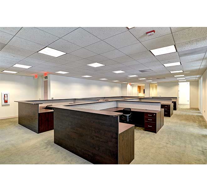 Open commerical office design multiple wrap around desks
