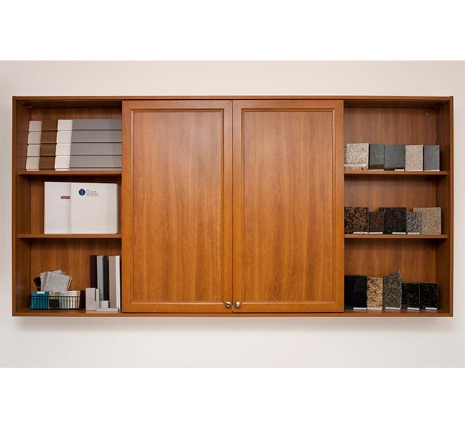 Center wood cabinet doors slid closed