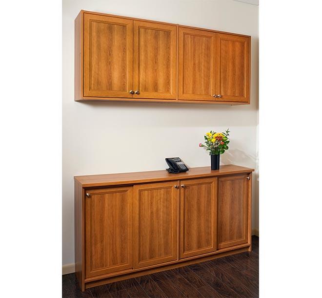 Coordinated custom office furnture piece with sliding doors