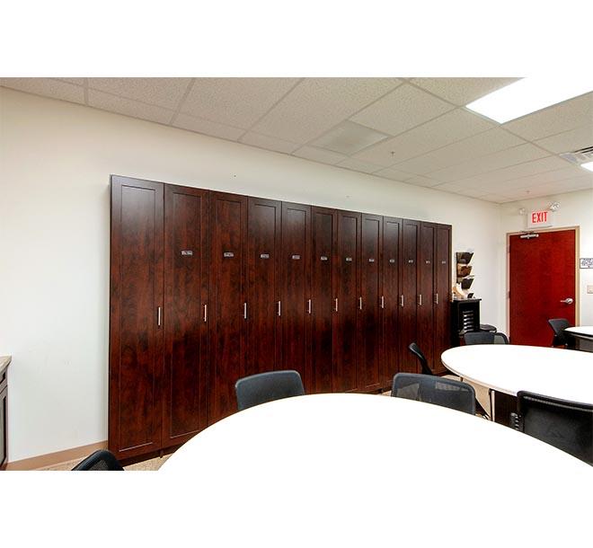 Lunchroom with custom matching locker furniture