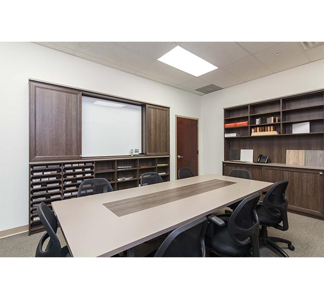 Conference room with customized task board or whiteboard