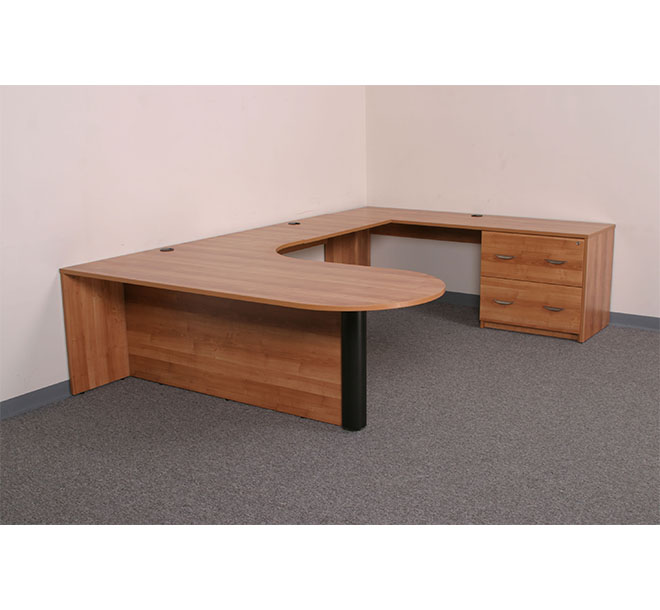 Commerical office space with wraparound desk and D top.