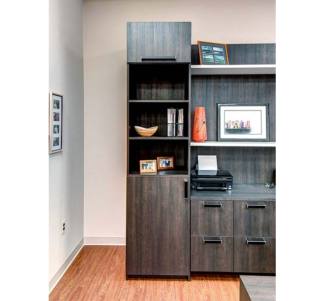 Collectibles displayed on open custom shelves in office cabinet
