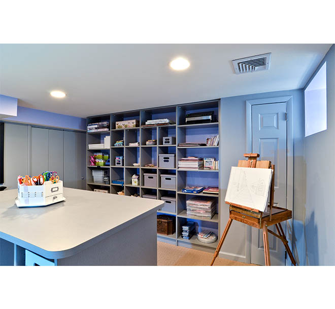Hobby room with art and craft supplies neatly organized