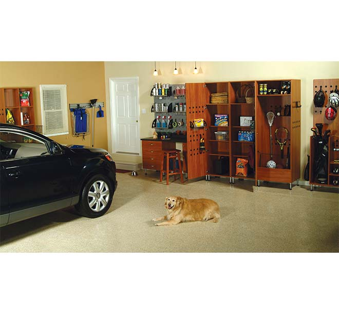 Garage cabinet with sports equipment organized
