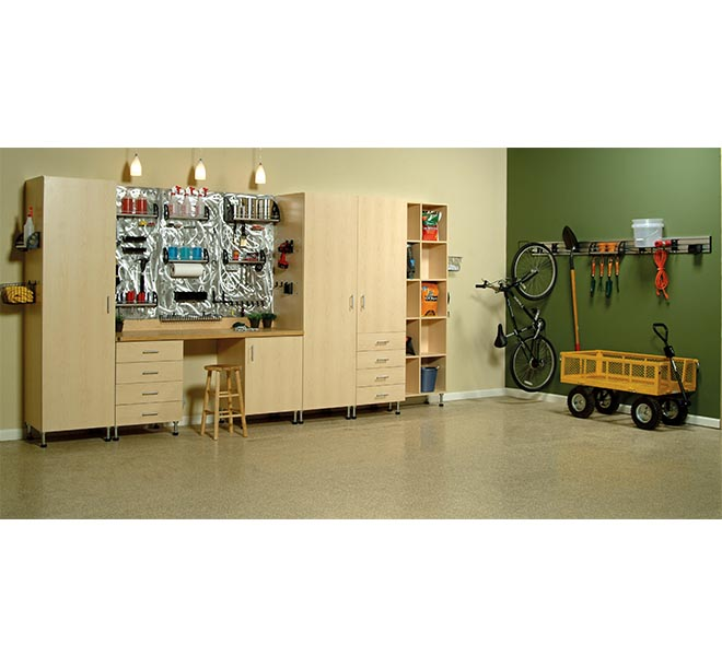 Garage organizatation ideas with custom shelving and cabinets
