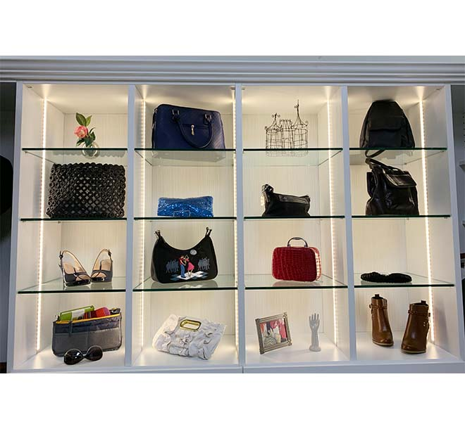 Closet display with LED recessed lighting