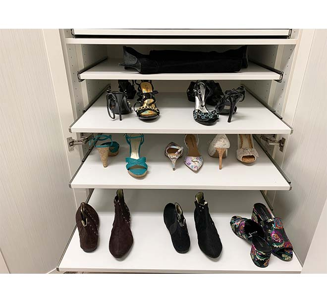 Cabinet with slide out shelves organinze shoe collection