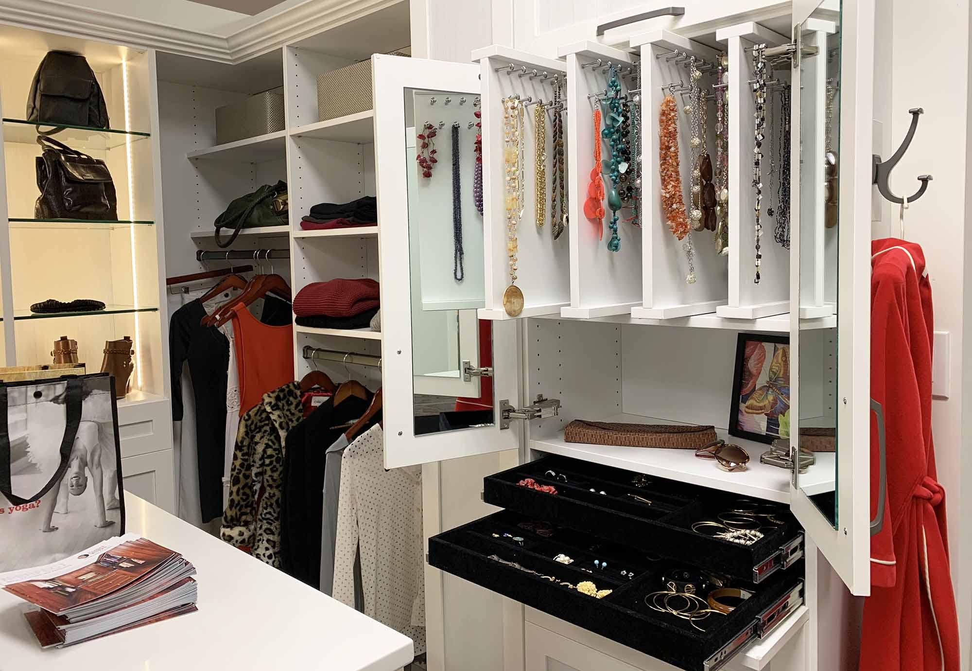 Sliders and velvet drawer inserts organizing jewelry