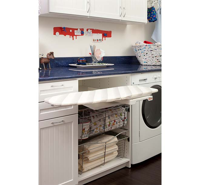 Laundry room with swivel out ironing board