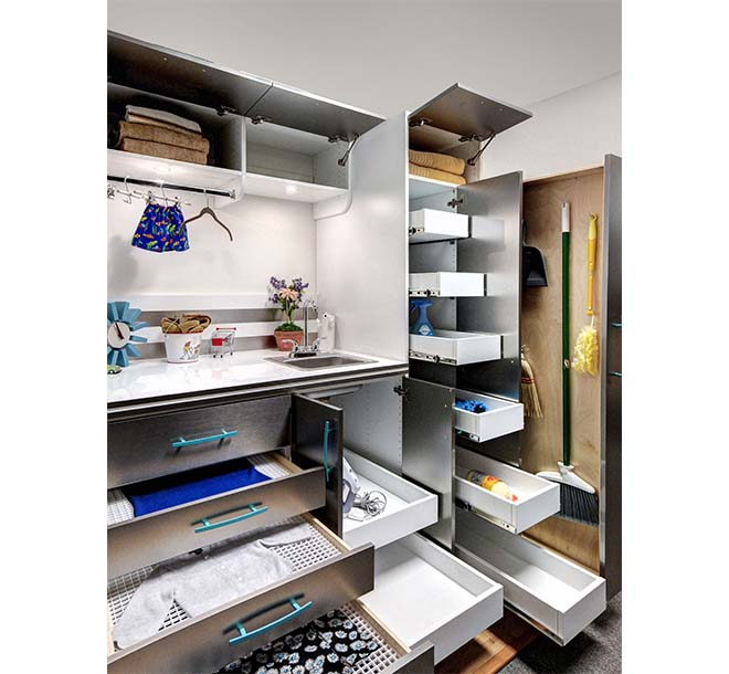 Laundry room with all organization and storage options shown and open