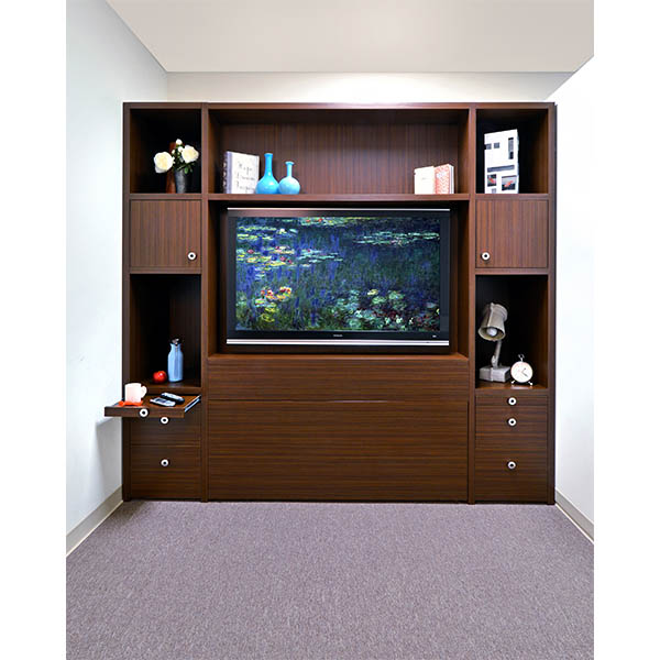 Zoom rood bed in entertainment unit