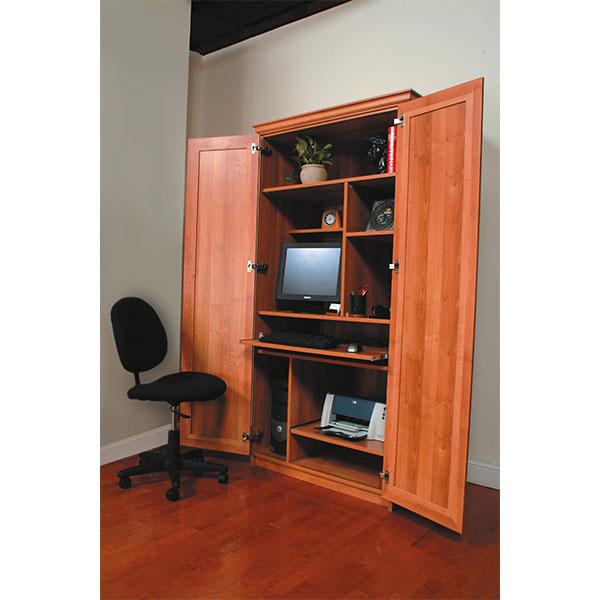 Computer workstation inside a custom built cabinet
