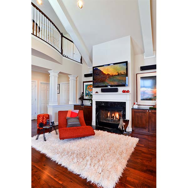 Cozy livingroom space with custom furniture and cabinets