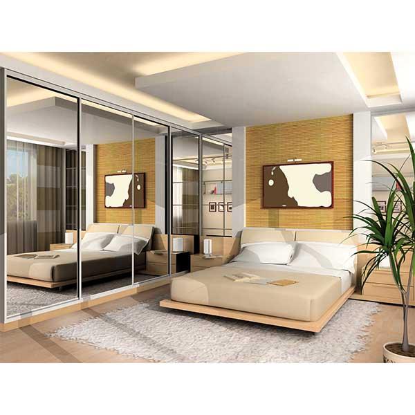 Custom bedroom furniture with sliding doors on closet