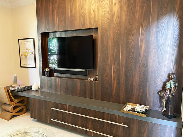 Entertainment Center with beautiful wood cabinets