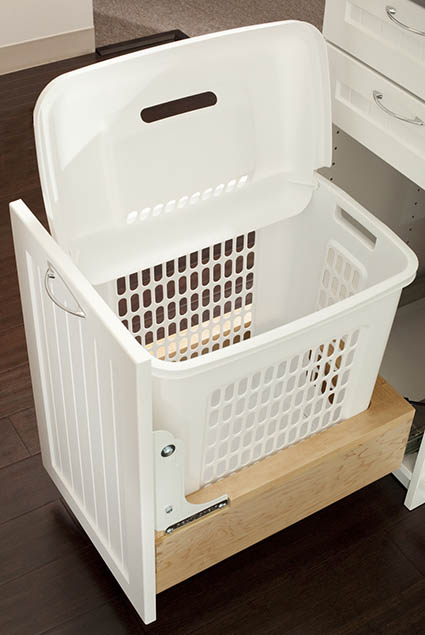 Pull out hamper in laundry room drawer