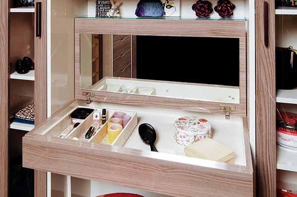 Flip up mirror and drawer insert organizing cosmetics