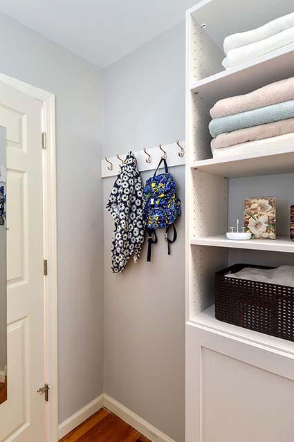 Hooks behind laundry room door