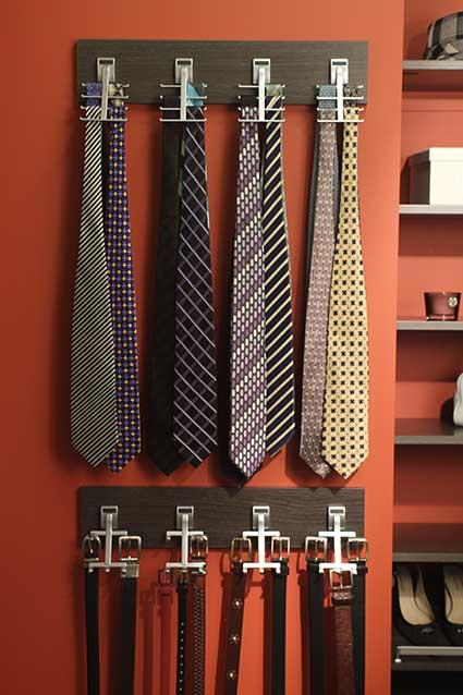 Belt and tie rack neatly organized