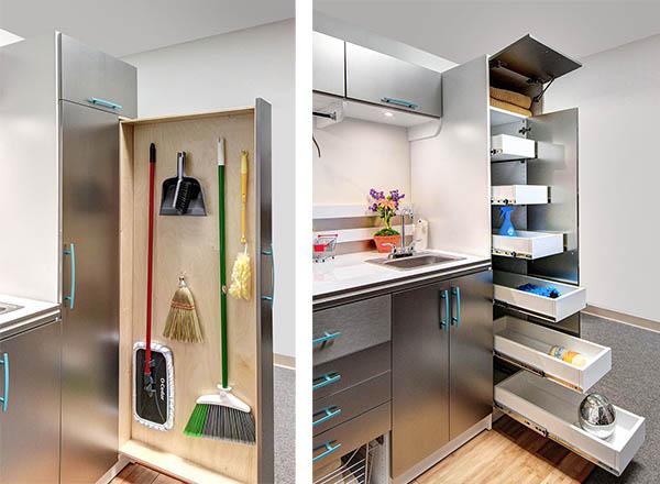 Laundry room vertical slider and sliding drawer