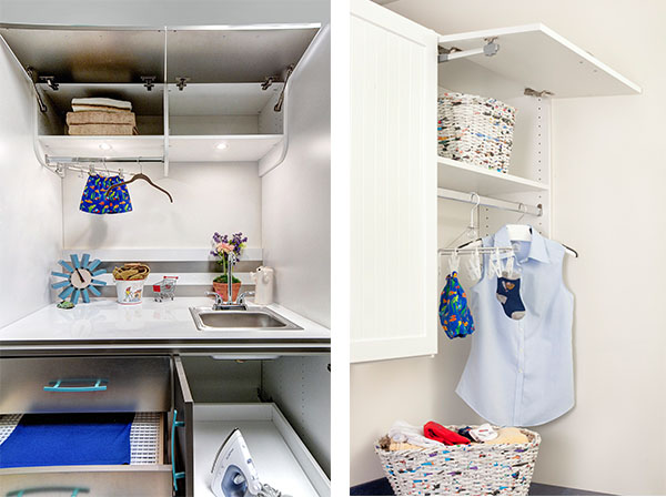 Laundry room storage racks and compartments