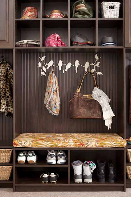 Mudroom with shoes neatly organized