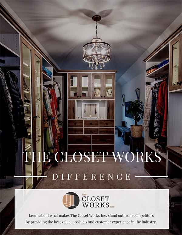 The Closet Works walk in closet and sitting room neatly organized