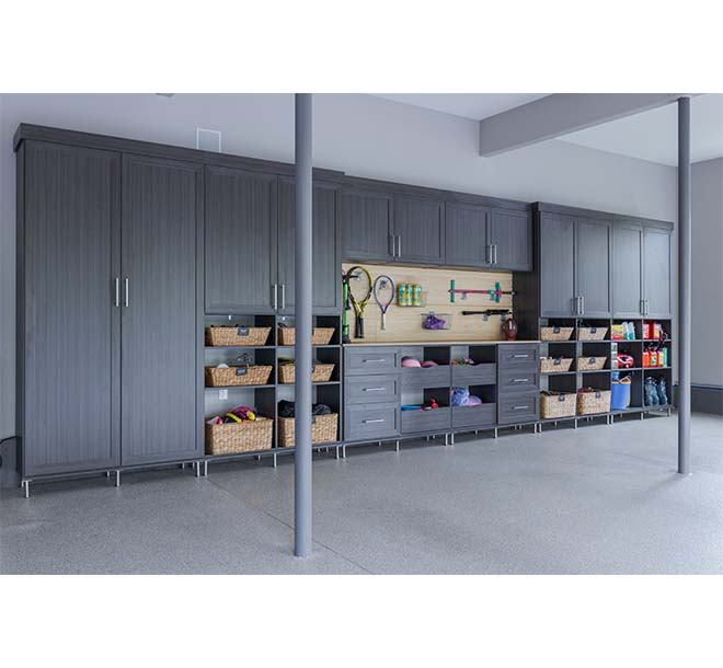 Cutom garage cabinets with a variety of storage options