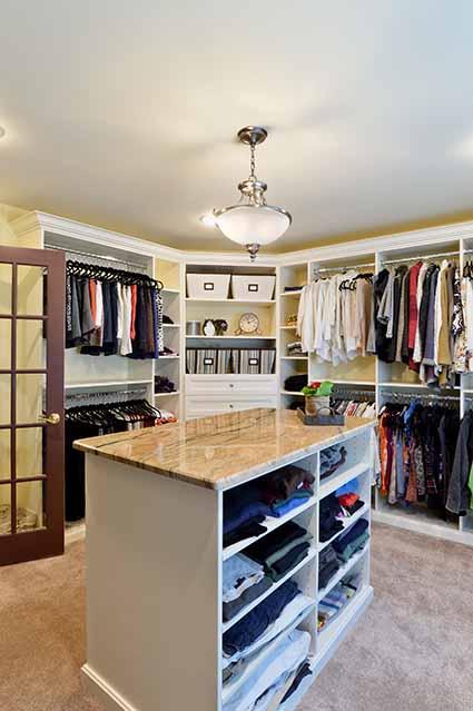 Master closet neatly organized
