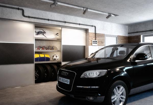 Garage neatly organized with custom shelves and sliding doors