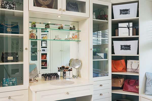 Vanity within walk in closet