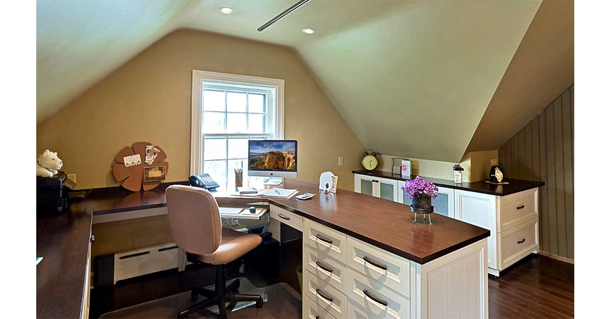 Home office organization idea in Delaware County PA with wrap around desk and matching cabinet