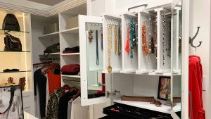 Custom walk in closet cabinet with jewelry organizer