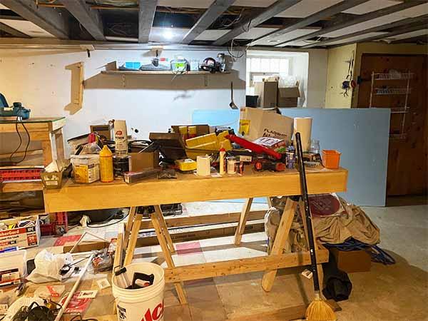 Messy basement unorganized