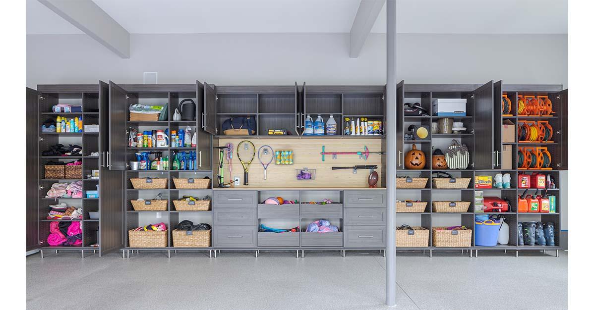 Garage organization system idea with custom cabinets