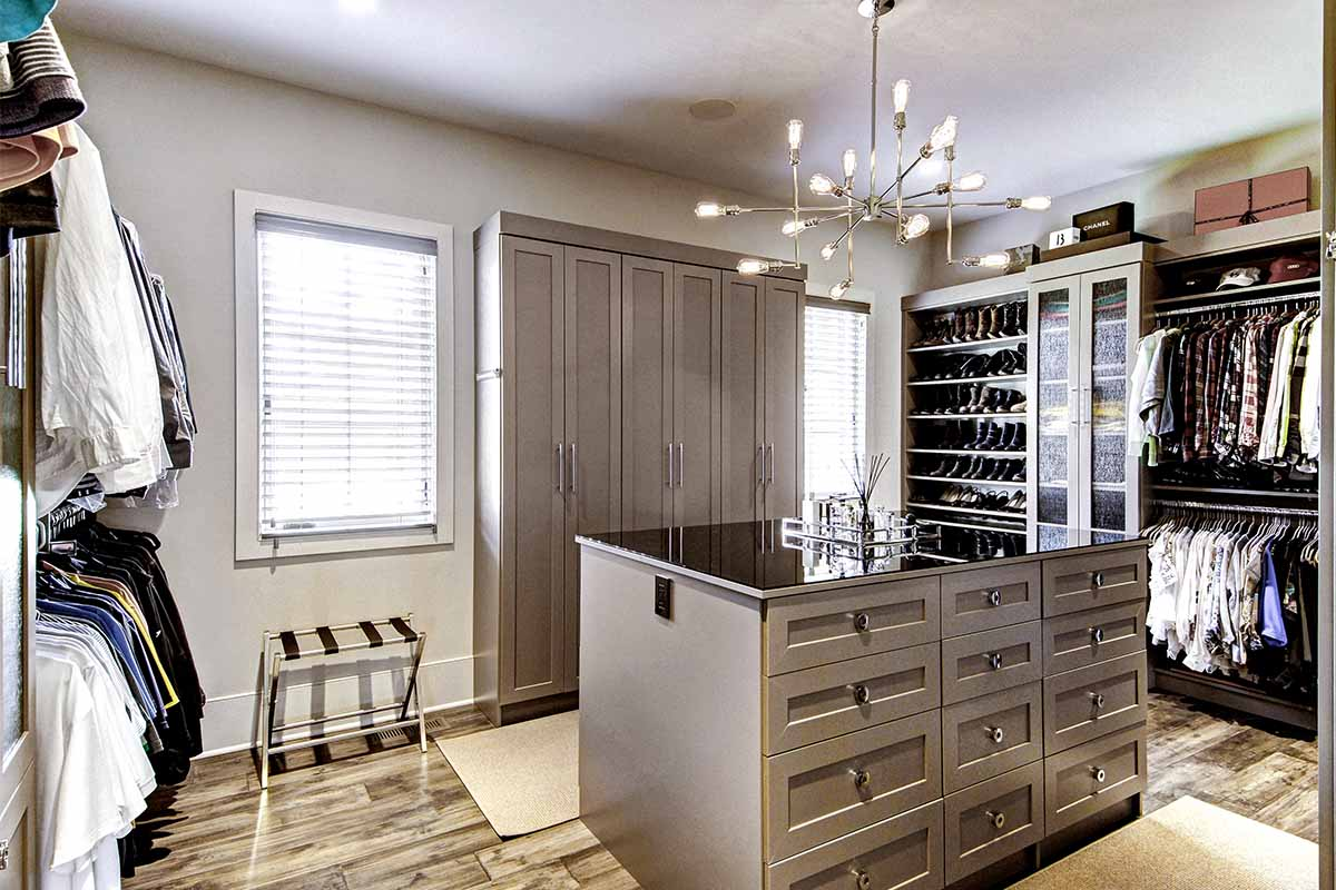 Bucks county custom closet with a variety of storage solutions