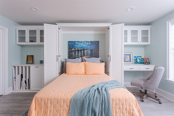Craft room with built-in Murphy bed open