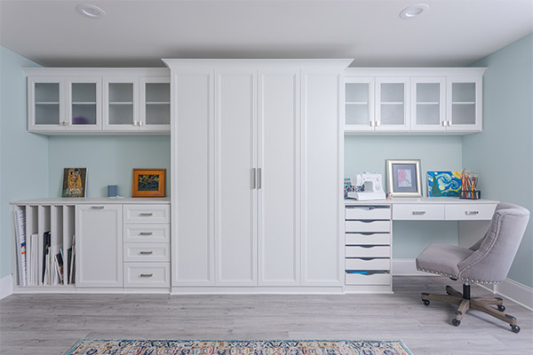 Craft room with built-in Murphy bed closed