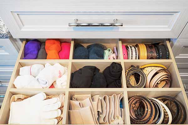 Birch closet drawer insert organizing socks, gloves and belts
