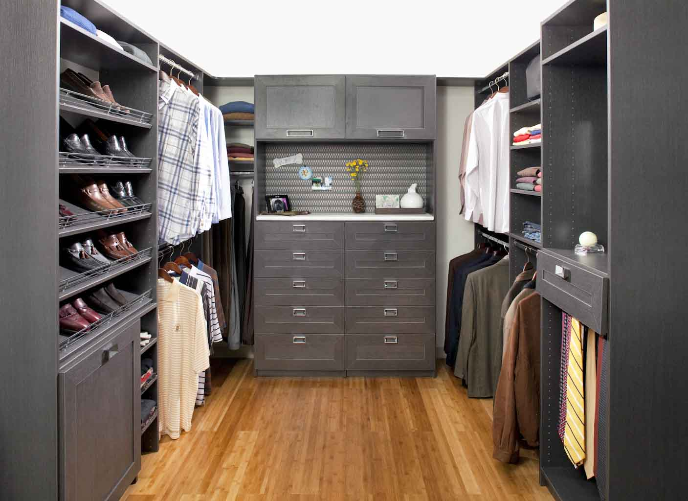 Walk in closet system and organizer for him