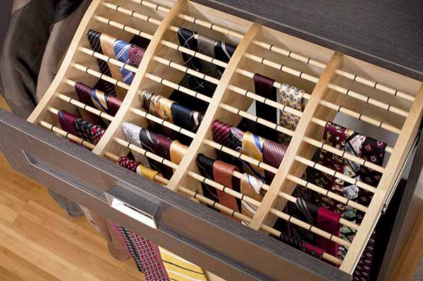Slide out tie rack in closet drawer