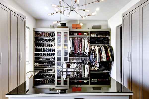 Closet with custom slanted shoe shleving