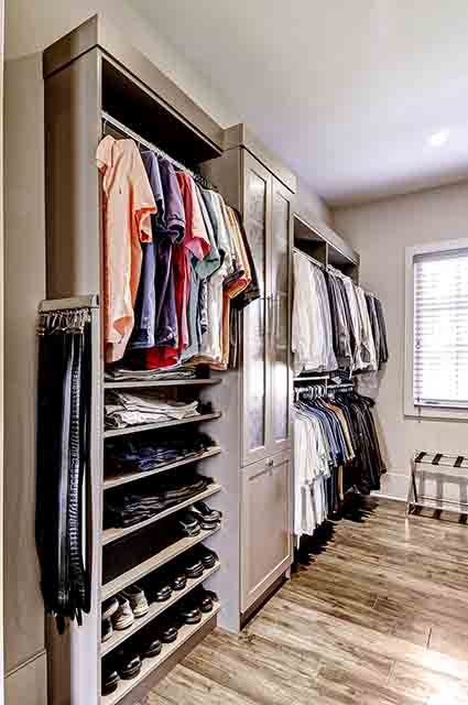 Walk-in wardrobe with double hanging storage options