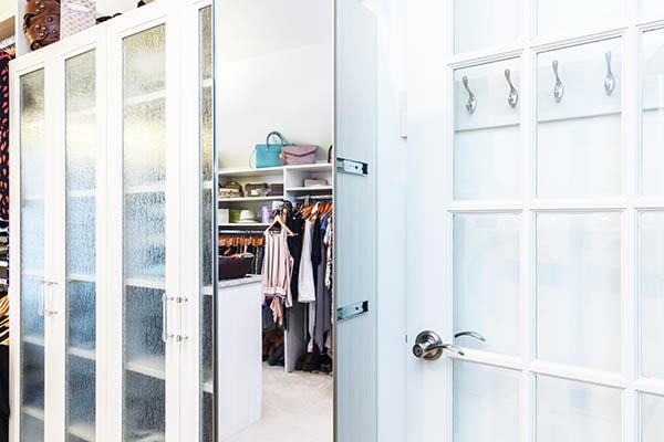 Custom closet cabinet with swivel mirror