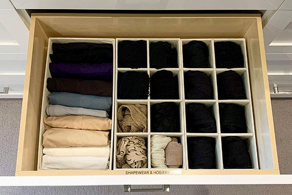 Drawer inserts organizing hosiery, socks and undergarments