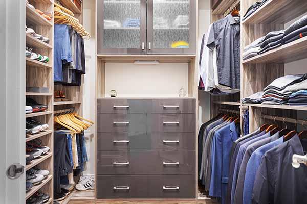 Mens walk in closet system