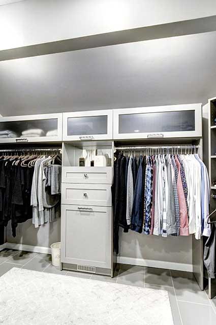 Custom closet organized designed for low ceiling space
